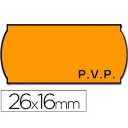 ETIQUETAS METO ONDULADAS 26 X 16 MM PVP FN. ADH 2 -FLUOR NARANJA TROQUELADAS -ROLLO 1200 ETIQUETAS