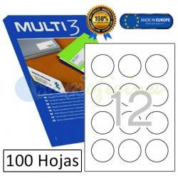 Etiquetas Adhesivas economicas Multi3 60 mm circulares 10489