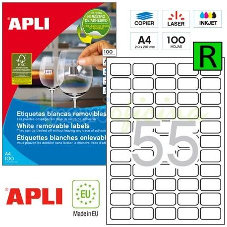 Etiquetas Adhesivas Removibles Apli 36,8x23,8mm 100h Ref.03051