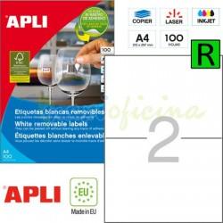 Etiquetas Adhesivas Removibles Apli 210x148mm 100h Ref.03059