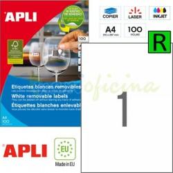 Etiquetas Adhesivas Removibles Apli 210x297mm 100h Ref.03060