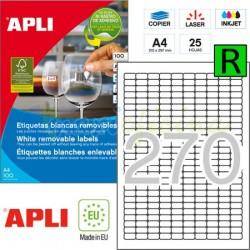 Etiquetas Adhesivas Removibles Apli 17,8x10mm 25h Ref.10197