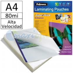 Fundas para Plastificar A4 80 Micras Brillo de Alta Velocidad