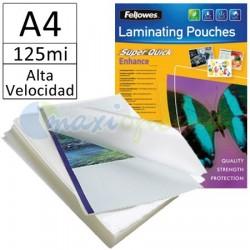 Fundas para Plastificar A4 125 Micras Brillo de Alta Velocidad