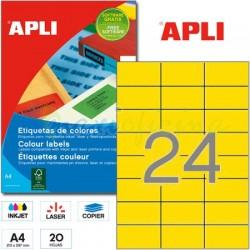 Etiquetas Adhesivas Apli Amarillo 70x37mm 20h