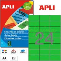 Etiquetas Adhesivas Apli Verde 70x37mm 20h
