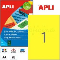 Etiquetas Adhesivas Apli Amarillo 210x297mm 20h