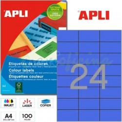 Etiquetas Adhesivas Apli Azul 70x 37mm 100h