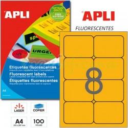 Etiquetas Adhesivas Apli Naranja Fluorescente 99,1x67,7 mm. 100h