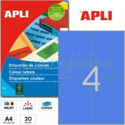 Etiquetas Adhesivas Apli Azul 105x148 mm. 20h