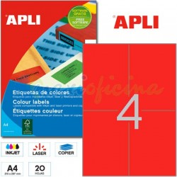 Etiquetas Adhesivas Apli Rojo 105x148 mm. 20h