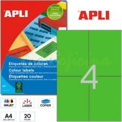 Etiquetas Adhesivas Apli Verde 105x148 mm. 20h