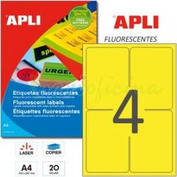 Etiquetas Adhesivas Apli Amarillo Fluorescente 99,1x139 mm. 20h