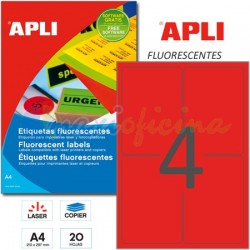 Etiquetas Adhesivas Apli Rojo Fluorescente 99,1x139 mm. 20h