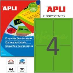 Etiquetas Adhesivas Apli Verde Fluorescente 99,1x139 mm. 20h