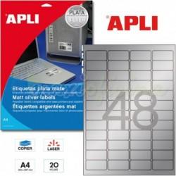 Etiquetas Adhesivas Metalizadas Apli PLATA 45,7x21,2mm 20h