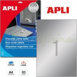 Etiquetas Adhesivas Metalizadas Apli PLATA 210x297mm 20h