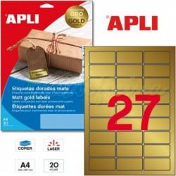 Etiquetas Adhesivas Metalizadas Apli ORO 63,5x29,6mm 20h