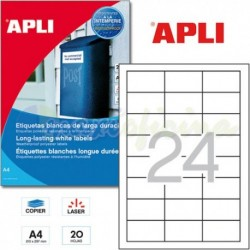 Etiquetas Adhesivas Poliester Blanco Apli 64,6x33,8mm 20h