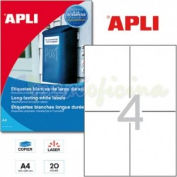 Etiquetas Adhesivas Poliester Blanco Apli 105x148mm 20h