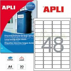 Etiquetas Adhesivas Poliester Blanco Apli 45,7x21,2mm 20h