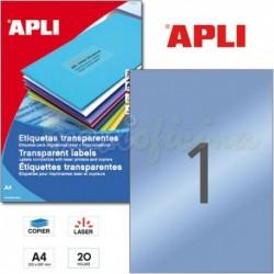 Etiquetas Adhesivas Poliester Transparentes Apli 210x297 mm 20h
