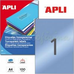 Etiquetas Adhesivas Poliester Transparentes Apli 210x297mm 100h