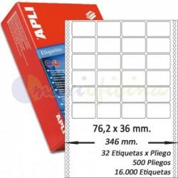 Etiquetas Adhesivas Papel Continuo Apli 76,2x36mm.