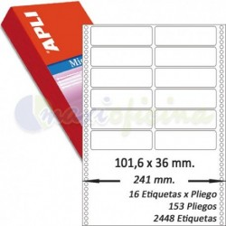 Etiquetas Adhesivas Papel Continuo Apli 101,6x36mm.