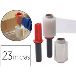 FILM EXTENSIBLE MANUAL CON APLICADOR ANCHO 100 MM ESPESOR 23 MICRAS 440 G TRANSPARENTE