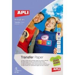 Papel Transfer COLOR Apli INKJET 5 hojas