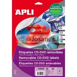 Bolsa Etiquetas Apli CD REMOVIBLES 25 hojas