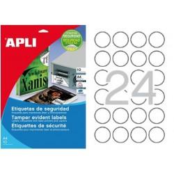 Etiquetas Adhesivas Poliester Blanco Apli Laser SEGURIDAD 40mm 10h