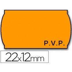 Etiquetas meto onduladas 22 x 12 mm pvp fn. adh 2 -flúor naranja -rollo 1500 Etiquetas