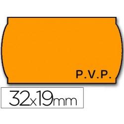 Etiquetas meto onduladas 32 x 19 mm pvp fn. adh 2 -flúor naranja -rollo 1000 Etiquetas