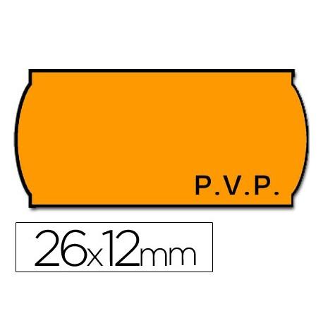 ETIQUETAS METO ONDULADAS 26 X 12 MM PVP FN. ADH 2 -FLUOR NARANJA TROQUELADAS -ROLLO 1500 ETIQUETAS