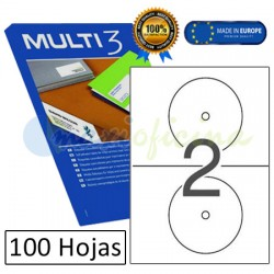 Etiquetas Adhesivas economicas Multi3 para Cd y DVD ref. 10816