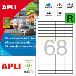Etiquetas Adhesivas Removibles Apli 48,5x16,9mm 100h Ref.03053