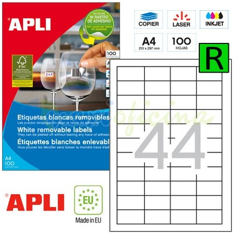 Etiquetas Adhesivas Removibles Apli 48,5x25,4mm 100h Ref.03054