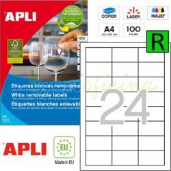 Etiquetas Adhesivas Removibles Apli 64,6x33,8mm 100h Ref.03056