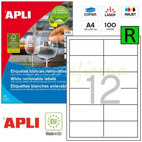 Etiquetas Adhesivas Removibles Apli 97x42,4mm 100h Ref.03057
