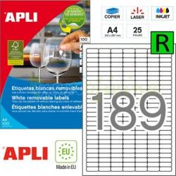 Etiquetas Adhesivas Removibles Apli 25,4x10mm 25h Ref.10198