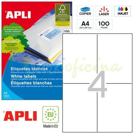 Etiquetas Adhesivas Apli 105 x148mm 100h Ref.01280
