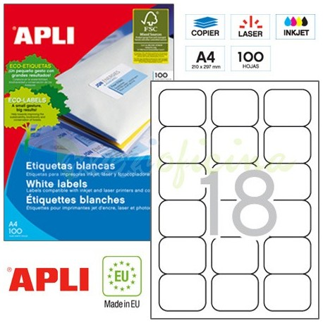 Etiquetas Adhesivas Apli 63,5 x 46,6mm 100h Ref.02415
