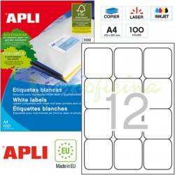Etiquetas Adhesivas Apli 63,5 x 72mm 100h Ref.02416