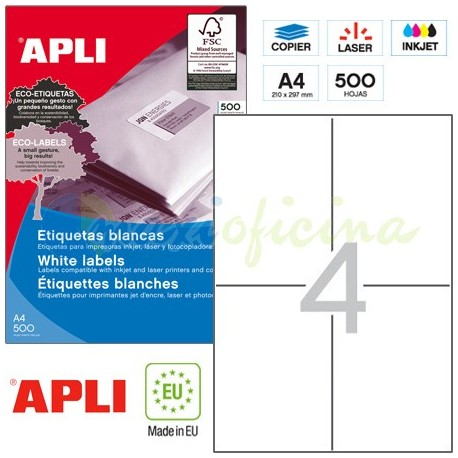 Etiquetas Adhesivas Apli 105x148mm 500h Ref.01797
