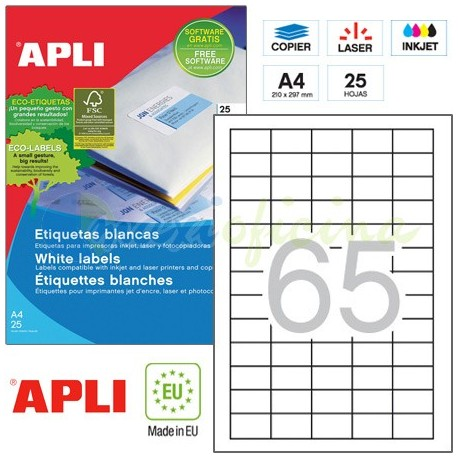 Etiquetas Adhesivas Apli 38X21,2mm 25h Ref.01209
