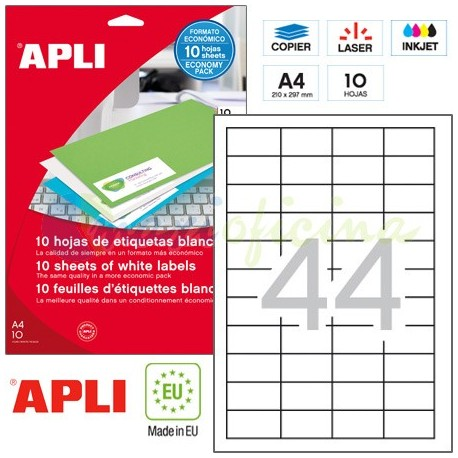 Etiquetas Adhesivas Apli 48,5x25,4 mm. 10h. Ref.12925