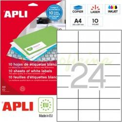 Etiquetas Adhesivas Apli 70x37 mm. 10h. Ref.12923