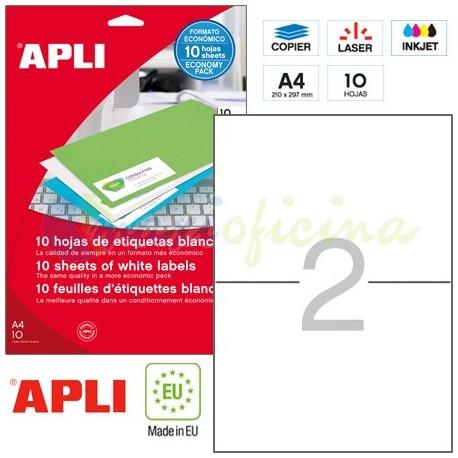 Etiquetas Adhesivas Apli 210x148 mm. 10h. Ref.12918